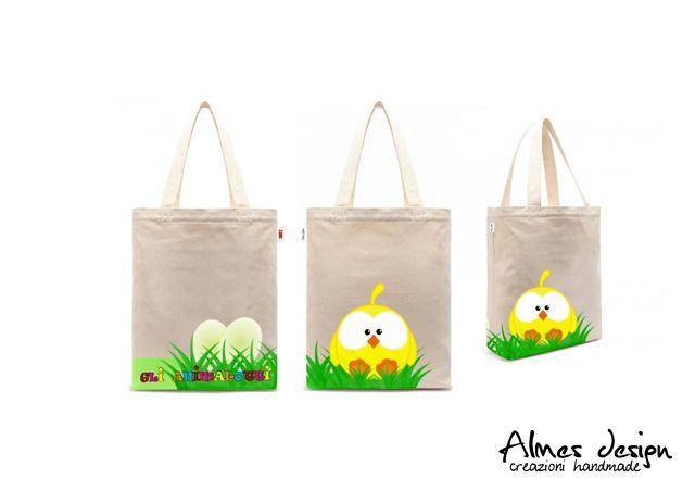 shopper bag- shopper with print - grafica pulcino - almesdesign - handmade -
