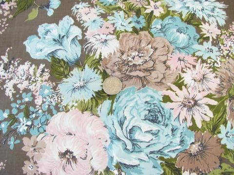 lot vintage 1950s glazed cotton chintz floral print fabric