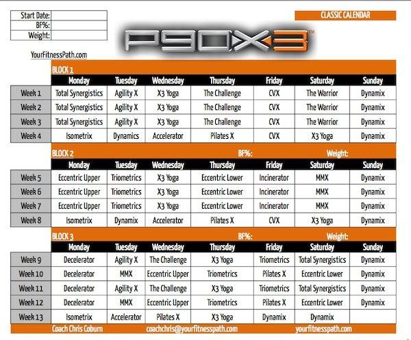 P90X3 Calendar - Classic. Order P90X3 here:  http://www.teambeachbody.com/shop/-/shopping/BCPX3205?referringRepId=303690