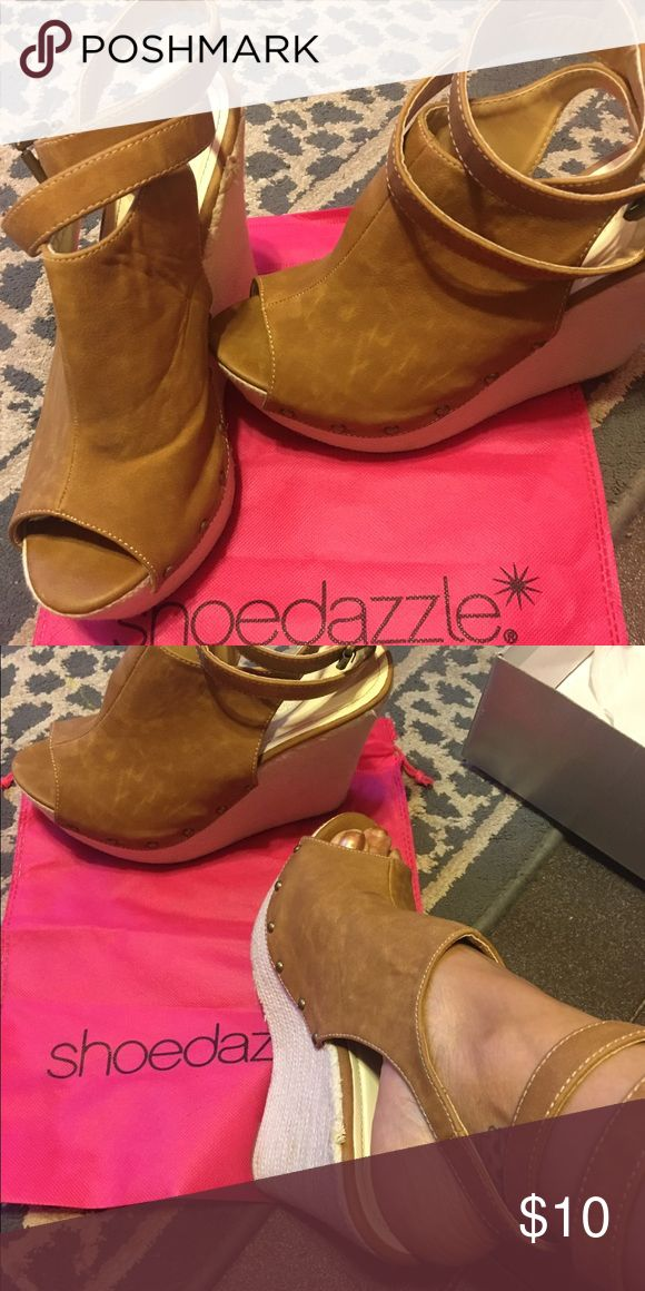 Gently used peep toe wedges Gently used peep toe wedges from Shoedazzle Shoe Dazzle Shoes Wedges
