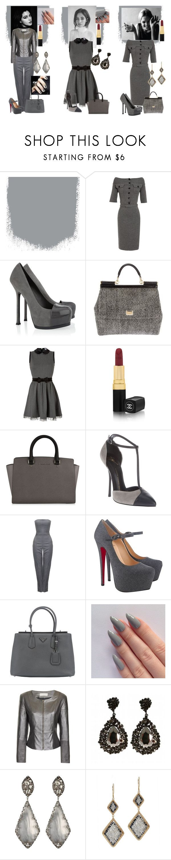 """""""The Ladys Grey!"""" by emily-dickson-1 ❤ liked on Polyvore featuring Sedgwick, Christian Dior, Yves Saint Laurent, Dolce&Gabbana, RED Valentino, Chanel, Giuseppe Zanotti, Alexander McQueen, Christian Louboutin and Prada"""