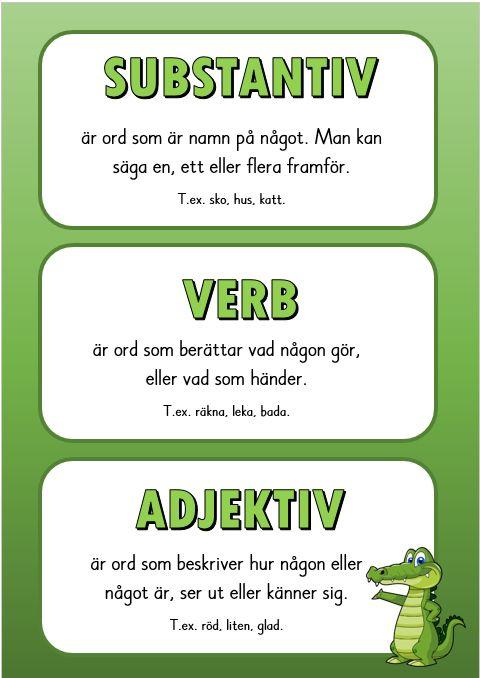 Substantiv, verb och adjektiv