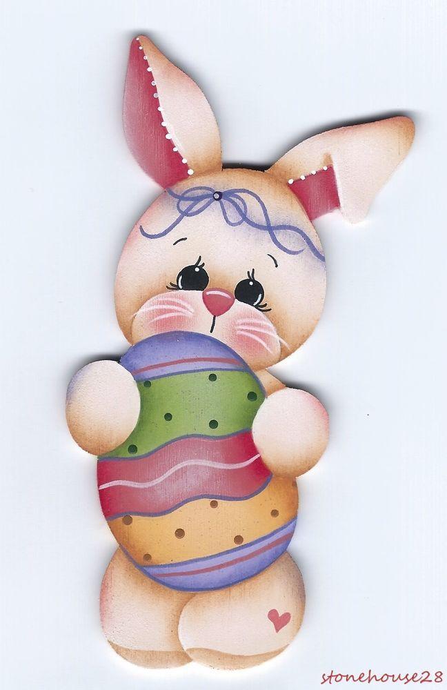 HP BUNNY with Easter Egg FRIDGE MAGNET #Handpainted