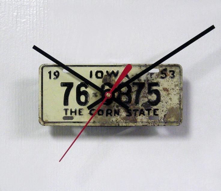 Iowa Bicycle Wall Clock - 1953 Iowa Bike License Plate Clock - Mini IA License Tag Clock - State Decor. $17.99, via Etsy.