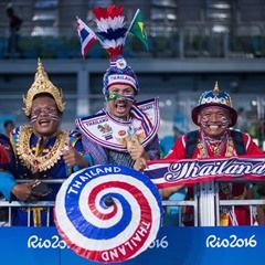 Fans of Thailand dress up for the Taekwondo at Rio 2016 Olympic Games