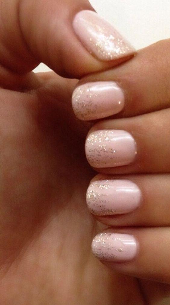 Nude & Glitter Wedding Nails for Brides / http://www.himisspuff.com/wedding-nail-art-desgins/9/