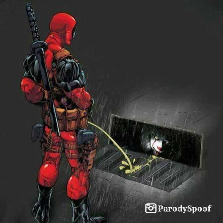 Deadpool hydrates Pennywise with his golden rain | #parody #art #humor #memes