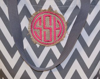 Monogram Chevron Tote Bag, Burlap Chevron Bag, Burlap Tote, Monogrammed Tote Bag, Personalized Chevron Canvas Tote Bag, Several Tote Colors!