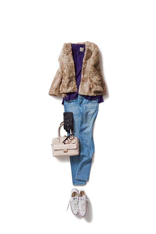 Kyoko Kikuchi's Closet #kk-closet デニムスタイルを、パープルでほんのり色っぽく