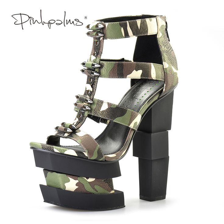 Pembe Palms yaz kadın ayakkabı yüksek topuklu kama sandalet mavi kamuflaj mermi dekorasyon seksi punk parti sandalet | 32822136339_pt