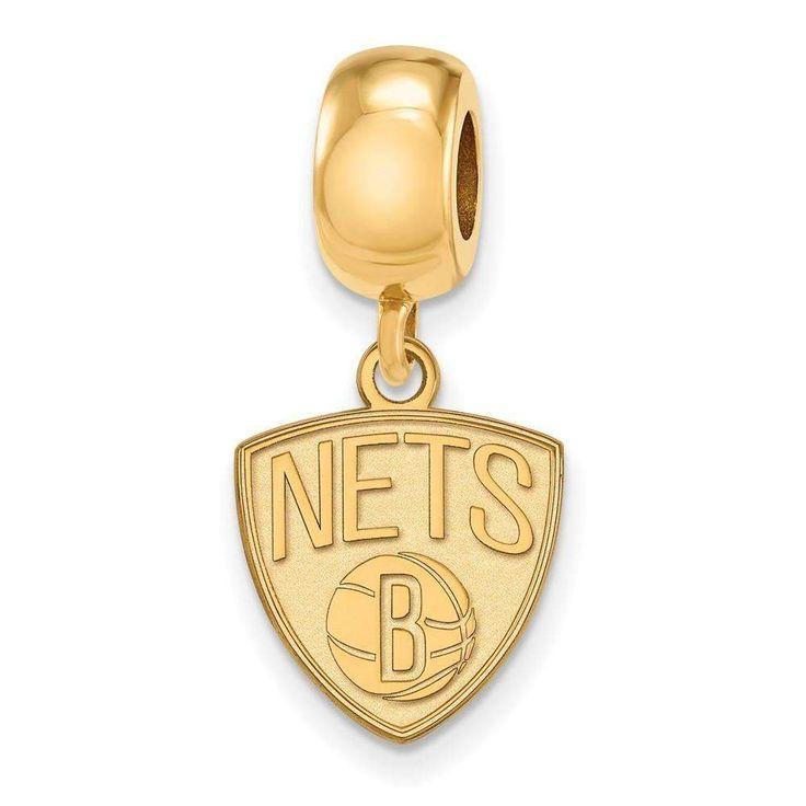 Sterling Silver w/GP NBA LogoArt Brooklyn Nets Small Dangle Bead