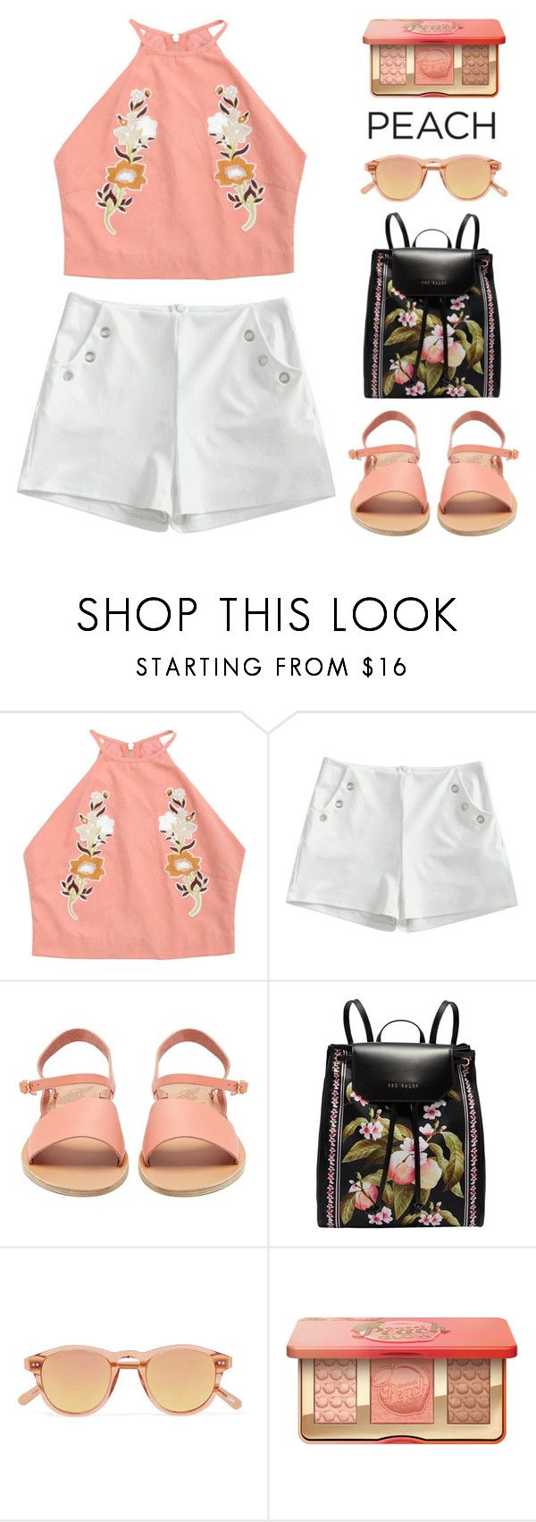 """""""Peach Perfect"""" by pure-vnom ❤ liked on Polyvore featuring Ancient Greek Sandals, Ted Baker and Chimi"""