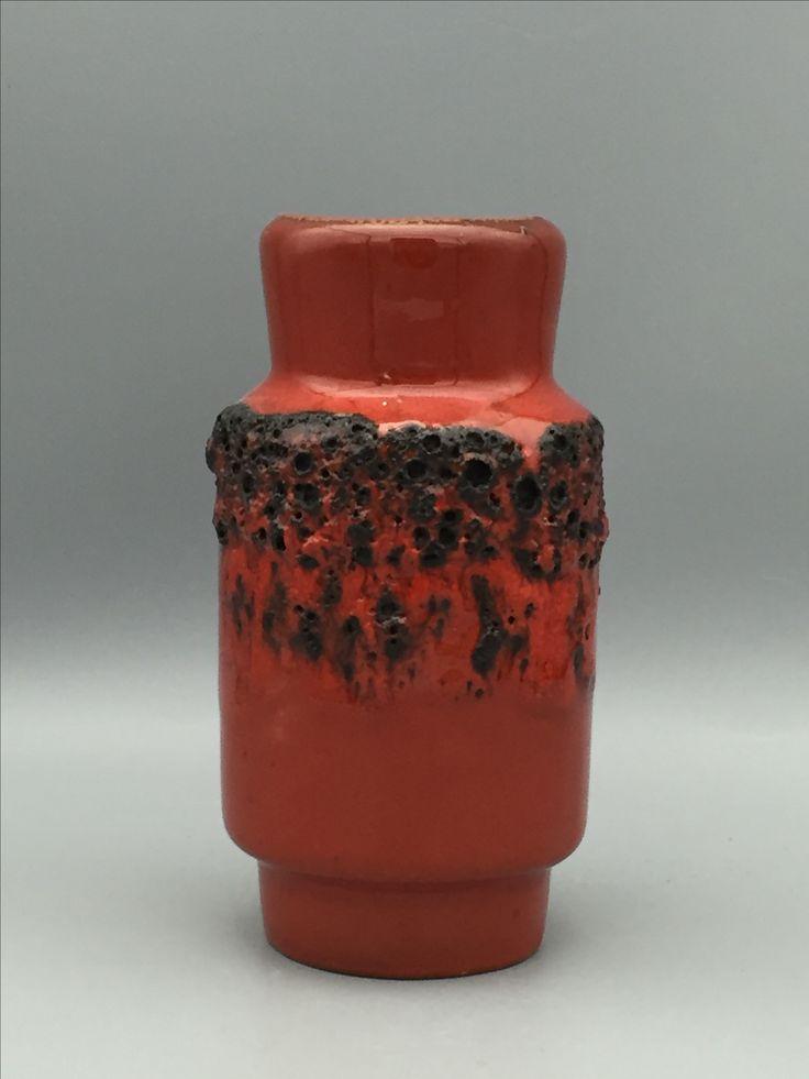 Kreutz Keramik. Red black Fat Lava Ceramic. Midcentury WGP .