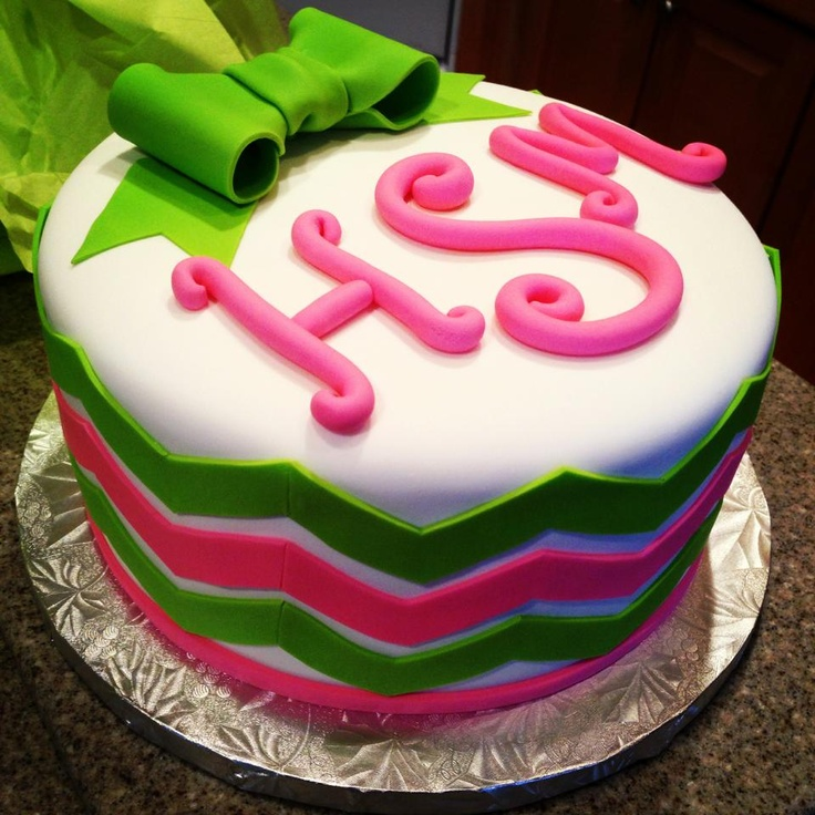Monogram birthday cake.... So close to my initials!! I am OBSESSED WITH THIS.
