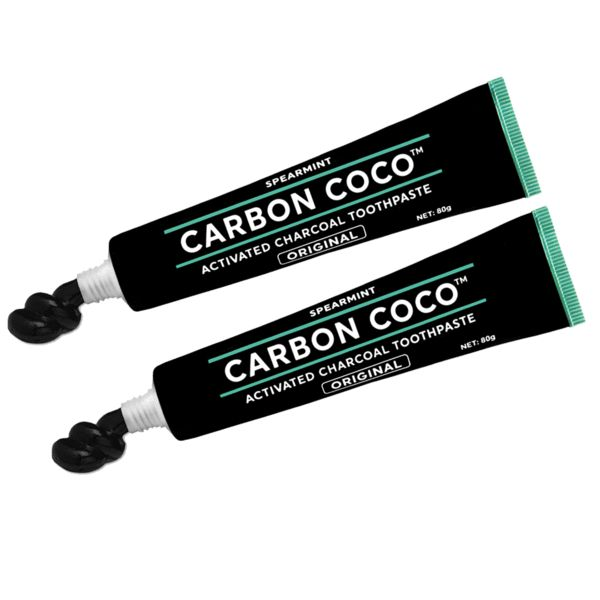Activated Charcoal Toothpaste fluoride free - Duo Pack - CarbonCoco