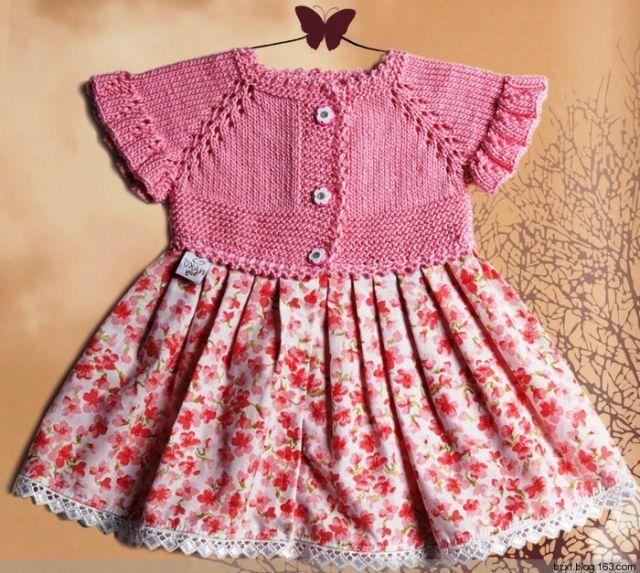 üstü örgü altı kumaş elbise - Açıklamalı Şiş İşi Bebek Örgülerimiz