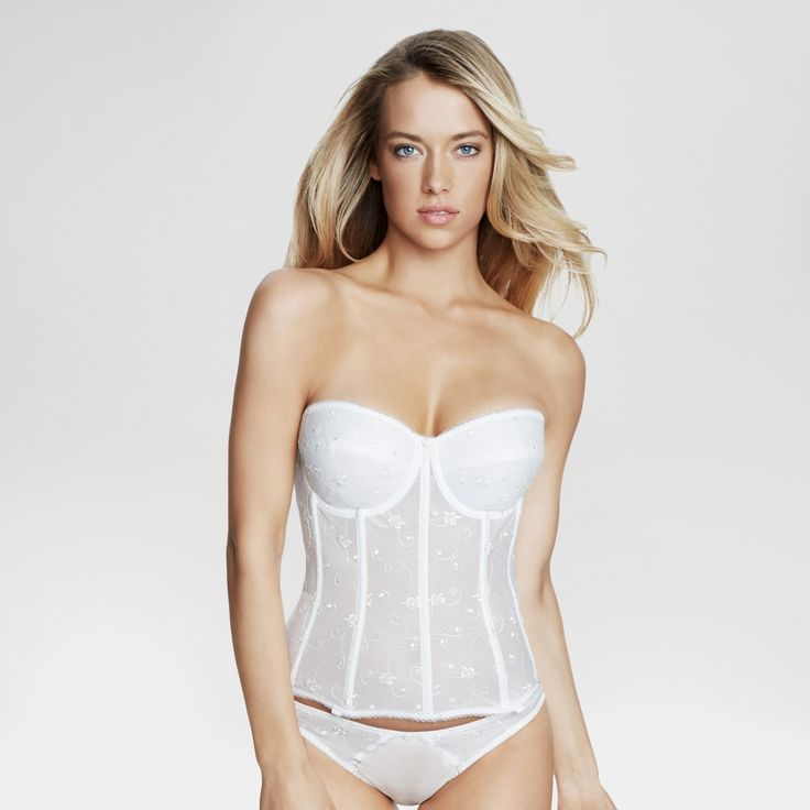 Dominique Women's Embroidered Corset Bridal Bra #8900 - Bone (Ivory) 34DD
