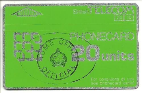 20u BT Phonecard for use in Ford Prison with Official Home Office stamp