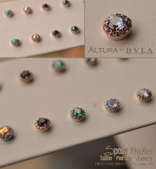 Introducing the Altura by body vision los angeles. We've carried a few of these stunning ends in the past but never like this. Today we received 9 sets of these pieces in White and Rose Gold featuring a rainbow of genuine and created stones. Perfect for earrings, cartilage piercings and microdermals.  These really have to be seen to believe!