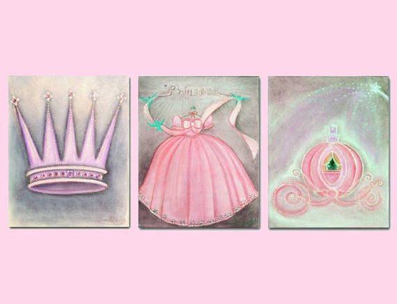 Princess Decor Cinderella Pumpkin Crown Dress Wall Art