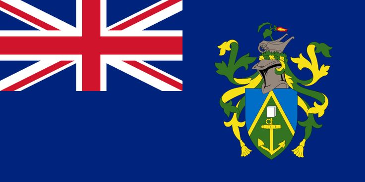 National flag of the Pitcain Islands from http://www.flagsinformation.com/pitcairn_islands-country-flag.html  Blue with the flag of the UK in the upper hoist-side quadrant and the Pitcairn Islander coat of arms centered on the outer half of the flag; the coat of arms is yellow, green, and light blue with a shield featuring a yellow anchor.
