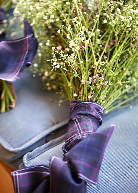 Wedding bouquets wrapped with tartan fabric to match the groom's kilt. Baby's breath and heather. #flowers #bridal