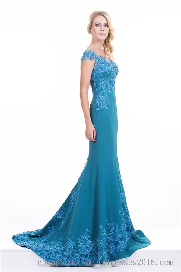 Omur Ozer 47530 Lace Teal Mermaid Evening Dress