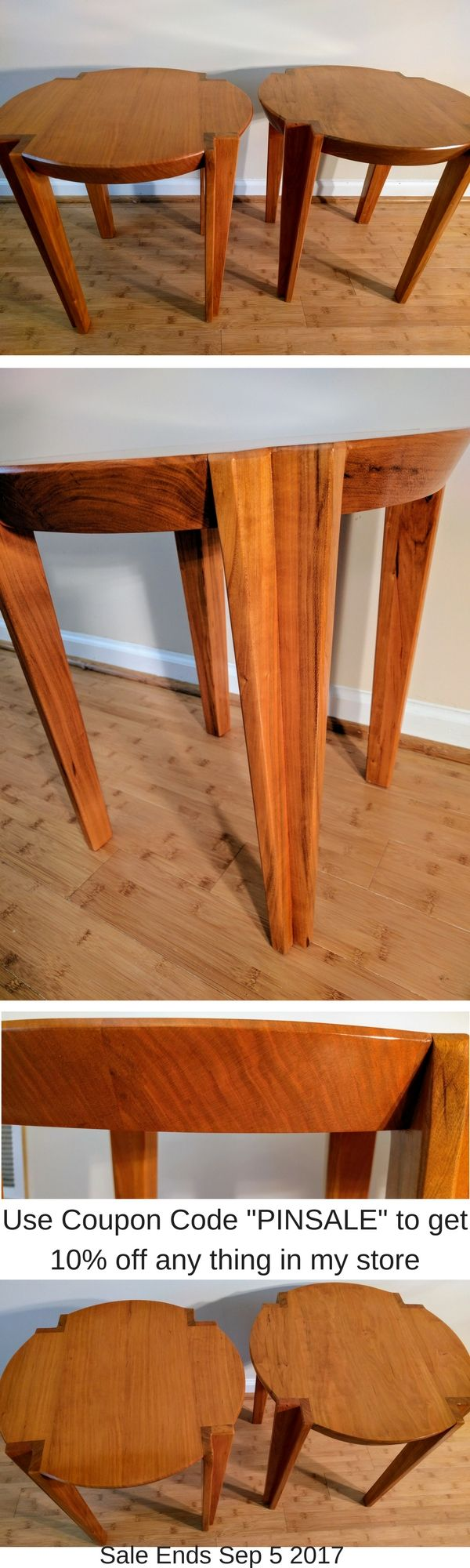 """This very unique and table is made from solid cherry with a 2 inch thick top. The beveled edges show off the grain of the wood and all of its character. The tapered legs come straight through the top highlighting the end grain. Finished with numerous coats of shellac for an easy to clean and durable finish.   The table size in the picture is 20"""" x 20"""" and 20"""" Tall. Can build custom size top and or table height"""