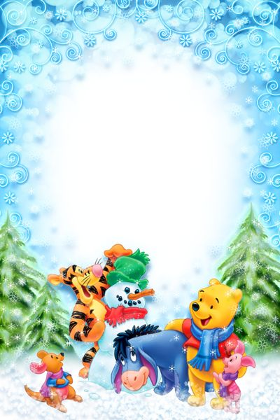 Cute Toddlers Playing Cartoon Wallpaper Christmas Kids Winter Photo Frame With Winnie The Pooh And