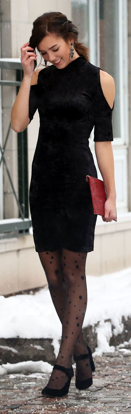 Valentine's day idea in velvet black dress, polka dots nylons, statement earrings and red clutch with red lips - by fashion blogger Marie's Bazaar