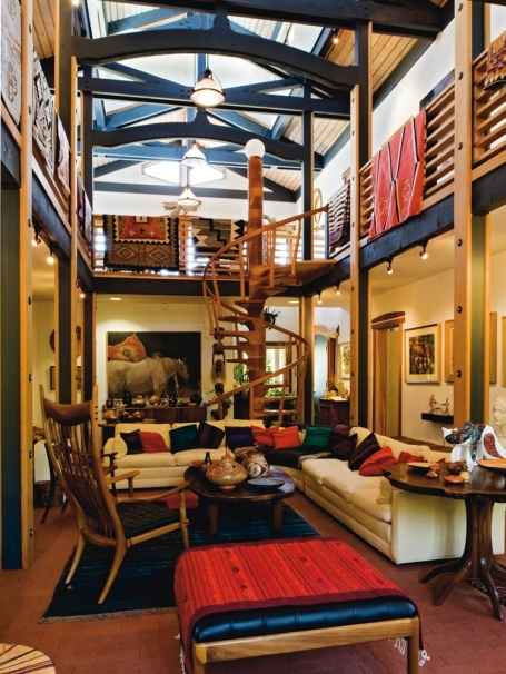 Sam Maloof crafted the spiral staircase in the new home that is the centerpiece of the central living area. From Homes of the Master Wood Artisans, ...