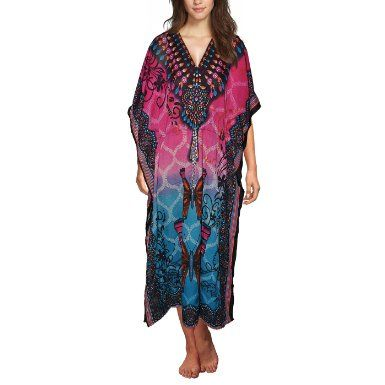 Pink Sky Blue Long Viscose Yellow Kaftan Butterfly Printed