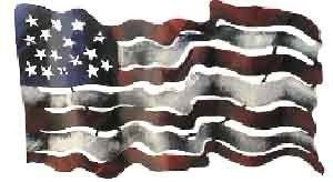 Free Form American Flag by iUnique Art. $74.95. Hand-Cut with Plasma Torch. Mix & Match with our other great pieces. Hand-Painted and Finished with Outdoor Quality Paints. Made in Mexico. Strong 22-Gauge Sheet Metal Construction. A wonderfully quaint rendition of our flag.  Dimensions: 20in x 11in x 6in Weight: 6 lbs Lead free metal Lead free paint Indoor/Outdoor use Hand crafted in Mexico