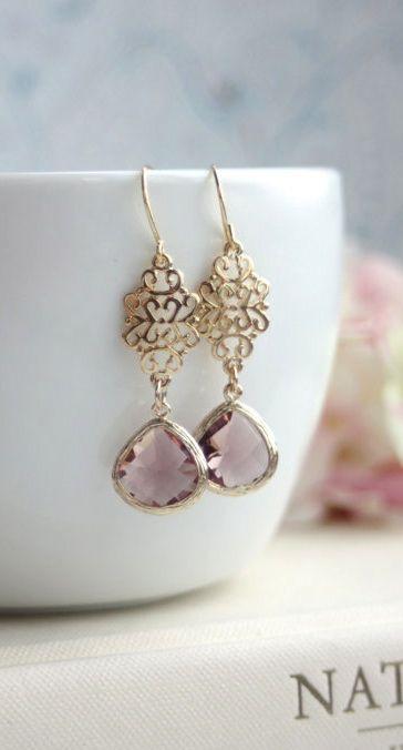 Plum Glass Filigree Gold Dangle Drop Earrings by Marolsha. https://www.etsy.com/listing/198494347/plum-glass-filigree-gold-dangle-drop?ref=shop_home_active_5
