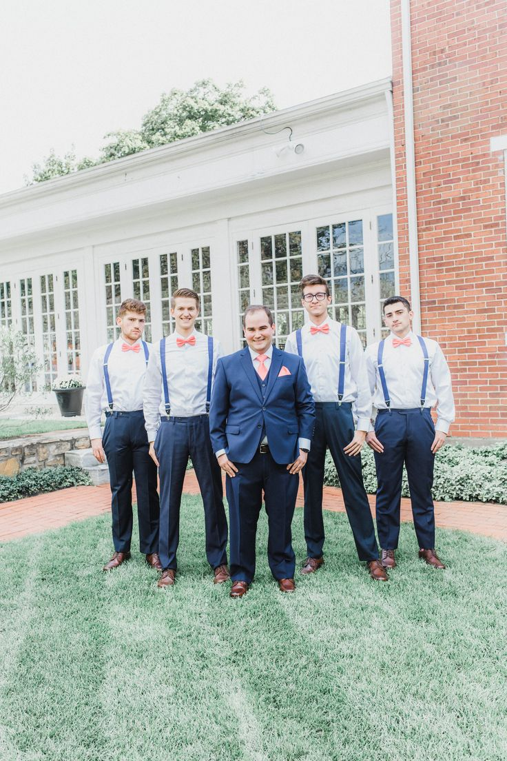 © Mallory McClure Photography | Central PA Wedding Photographer | Fine Art Wedding Photography, Romantic and Authentic Wedding Photography, Central PA Weddings and Reception Venues, Lily Manor Wedding, Mifflin wedding, Mansion Wedding, photo of groom and groomsmen in mansion garden, navy blue and pink wedding color scheme, colored suspenders, bowties, groomsmen style, groom style, navy blue wedding suiting, Fall wedding