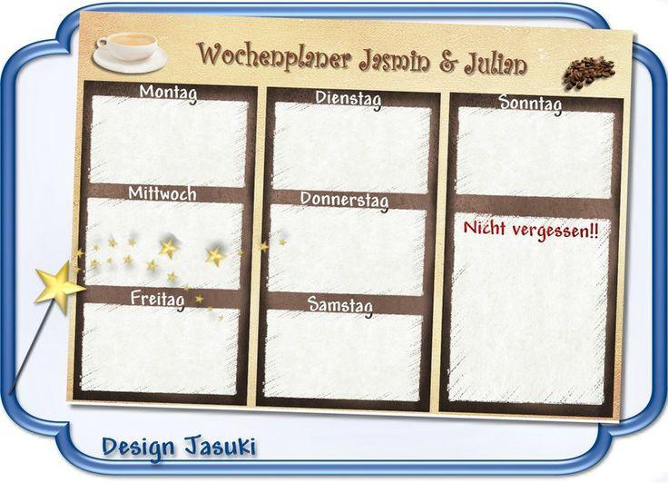 A4 Wochenplaner Haushaltsplaner laminiert  Kaffee von Jasuki auf DaWanda.com