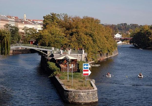 Kids island in Prague, also called Jewish island or Maltese island