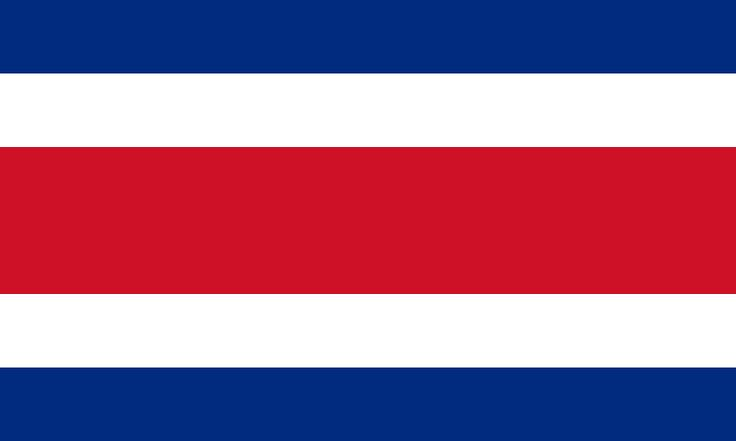 National flag of Costa Rica from http://www.flagsinformation.com/costa_rican-country-flag.html  Five horizontal bands of blue (top), white, red (double width), white, and blue, with the coat of arms in a white elliptical disk on the hoist side of the red band; above the coat of arms a light blue ribbon contains the words, AMERICA CENTRAL, and just below it near the top of the coat of arms is a white ribbon with the words, REPUBLICA COSTA RICA.