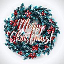 С Рождеством вечеринка приглашение с Новым годом и Вечеринка Пригласительный билет Рождественская вечеринка постер Праздник шаблон дизайна Рождественские украшения ель, сосна Ветви снежинки, подарочная коробка, огни, шары