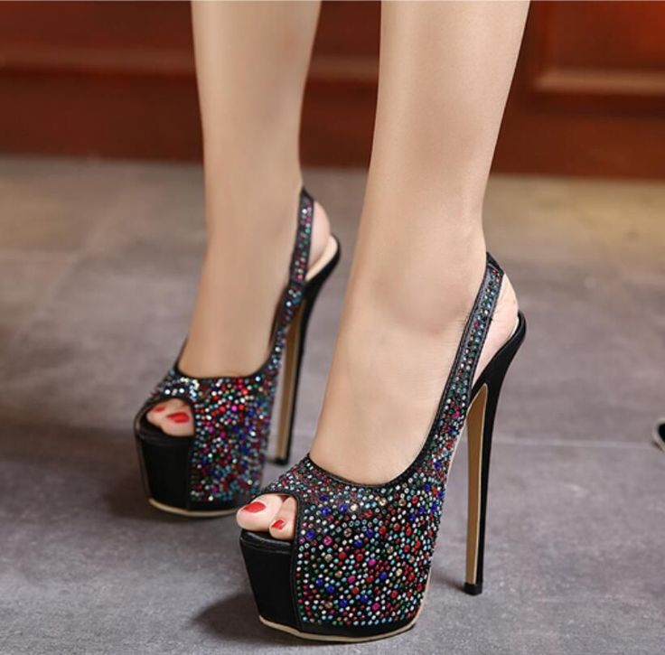 Rhinestone Peep Toe Slingback Stiletto High Heels Platform Pump Party Club Shoes