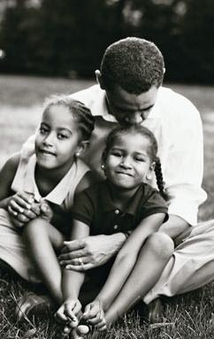 The President Barack Obama with daughters  | black and white