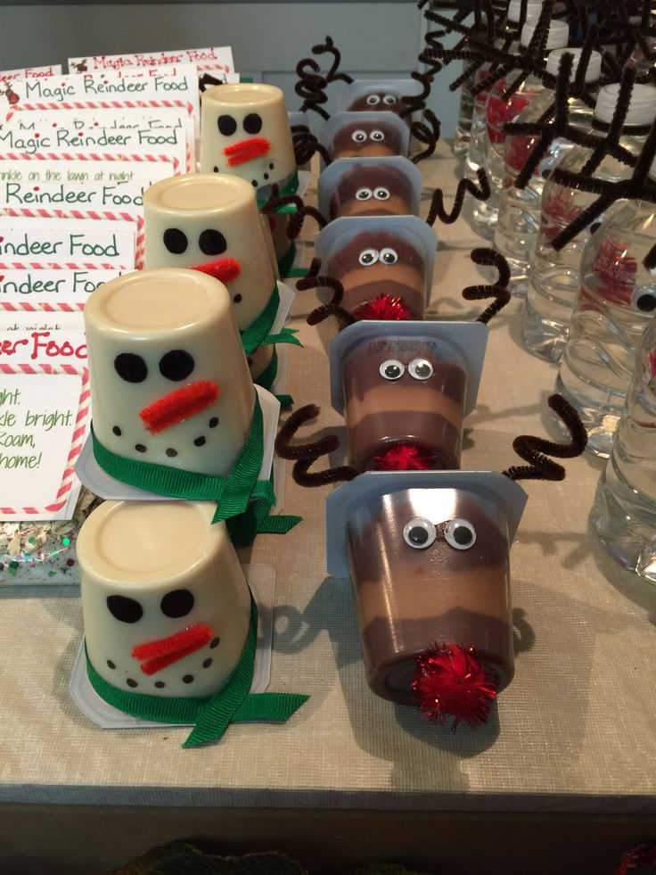 Rudolph and snowman pudding cups made for my son's 1st grade Christmas party