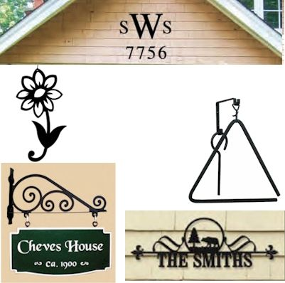 Wrought Iron House Numbers & Letters, Welcome Signs, Sign Brackets, Triangle Chimes, Hanging Silhouettes, Snow Gauges for Outdoor decor.