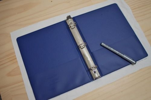 Turn an ordinary 3-ring binder into a linen portfolio...
