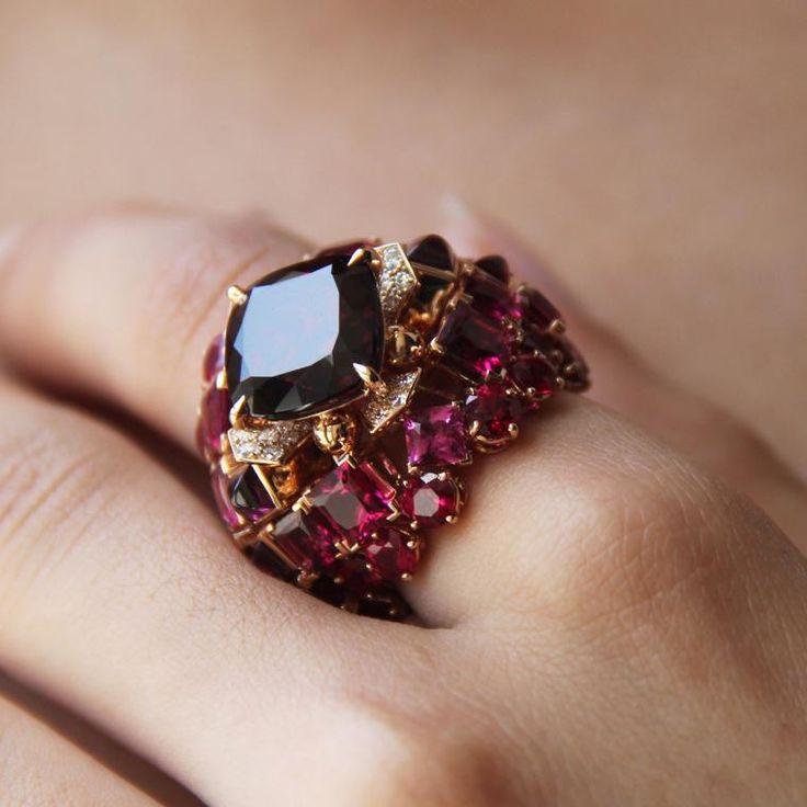 Chaumet est une fete Aria Passionata anillo de joyería de granate de rodiolita