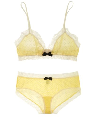 A delicate and whimsical bra set from Eberjey in barely-there yellow. Simple but beautiful!