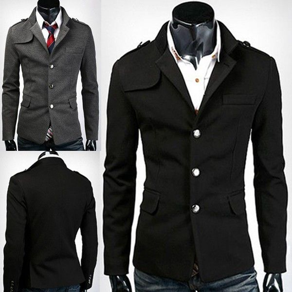 Fashion Stand Collar Single-breasted Men Slim Fit Suit via martEnvy. Click on the image to see more!
