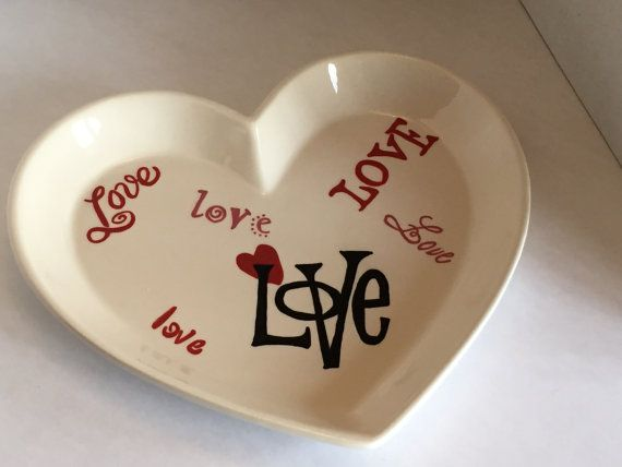 Love is Everywhere  Medium Ceramic Hand painted Plate by DabaDos