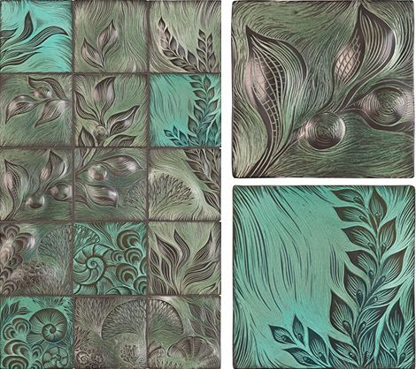 A gorgeous idea for your tile mural backsplash, these stunning sculptural tiles by Ann Sacks have an original, organic feel. If you love handcrafted tiles, you'll adore this type...