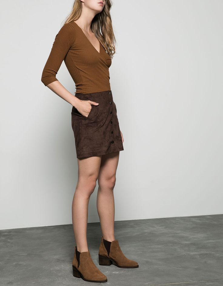 short suede skirt with buttons - Skirts - Bershka Egypt
